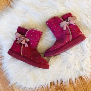 UGG Girls Pink Heart Bow Boots 2